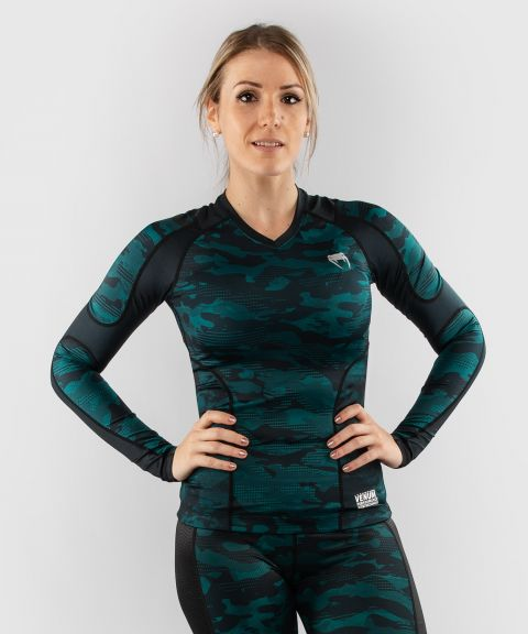 Venum Defender long sleeve Rashguard - for women - Black/Green