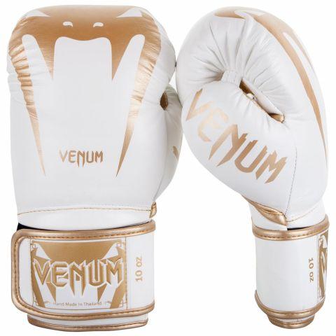 Боксерские перчатки Venum Giant 3.0  - Кожа Наппа - Белый/Золотой