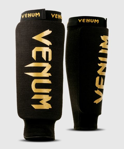 Venum Kontact Shin Guards - without foot - Black/Gold