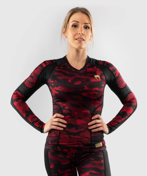 Venum Defender long sleeve Rashguard - for women - Black/Red