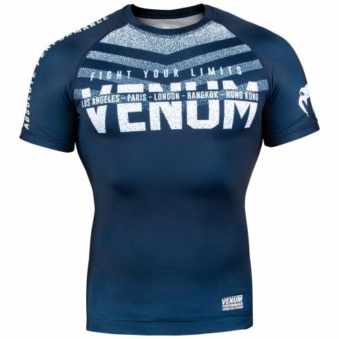 Venum Signature Rashguard - Short Sleeves - Navy Blue/White