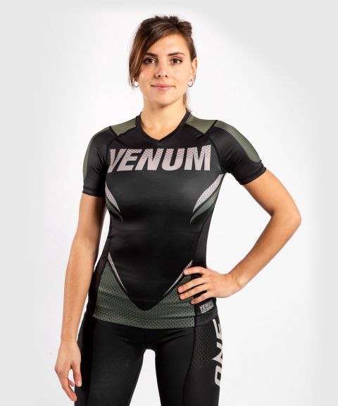 Venum ONE FC Impact Rashguard - short sleeves - for women - Black/Khaki