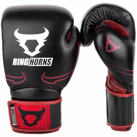 Ringhorns Destroyer Boxing Gloves - Leather - Black/Red