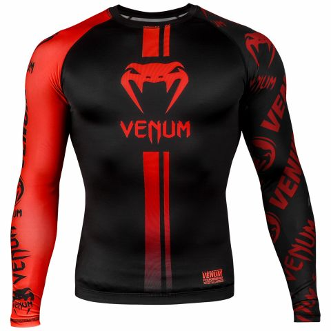 Venum Logos Rashguard - Long Sleeves - Black/Red