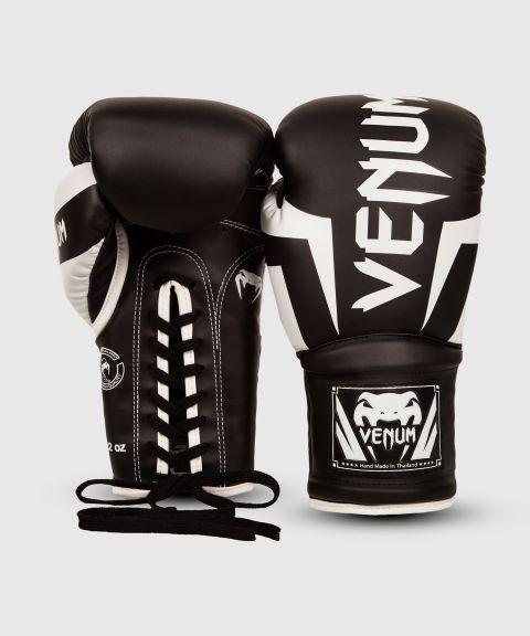Боксерские перчатки Venum Elite - со шнуровкой - Черный/Белый