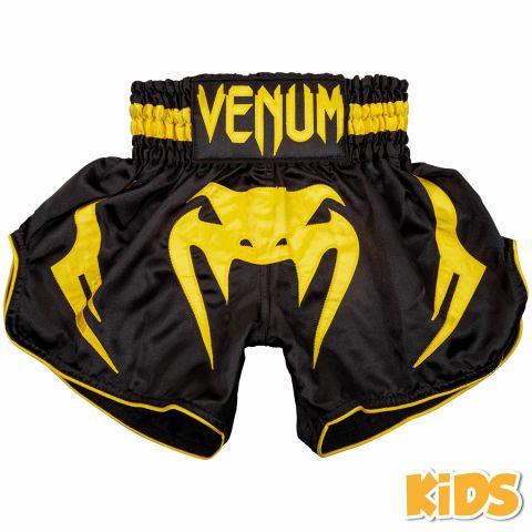 Детские шорты для тайского бокса Venum Bangkok Inferno - Черный/Желтый - 14 лет
