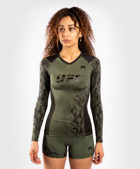 UFC 베넘 어쎈틱 파이트 위크 여성 긴팔 티셔츠 -카키색 옷감