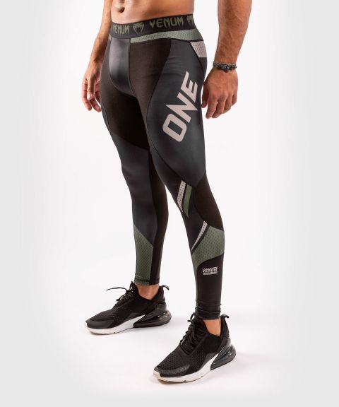 Компрессионные штаны ONE FC Impact  - Чёрный/хаки