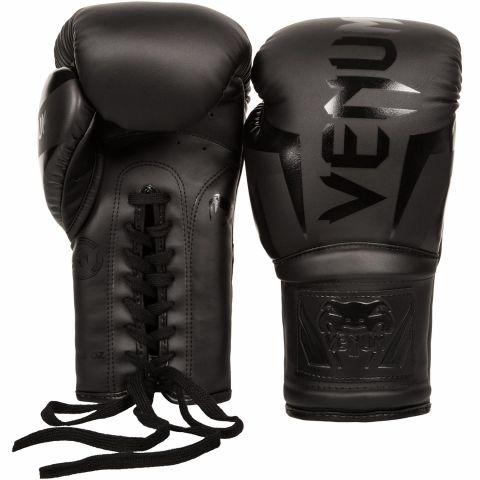 Боксерские перчатки Venum Elite - со шнуровкой - Матовый черный
