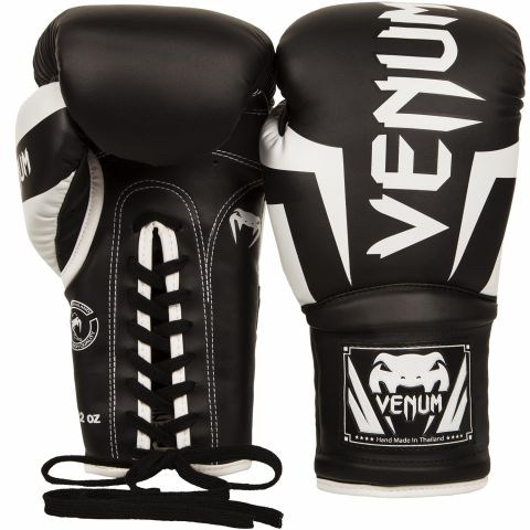 Venum Elite Boxing Gloves - with Laces - Black/White