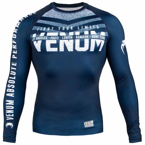 Venum Signature Rashguard - Long Sleeves - Navy Blue/White