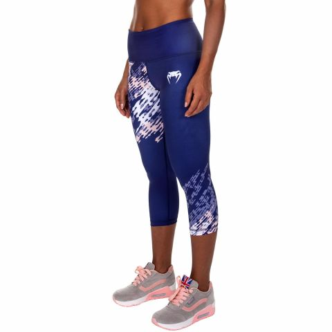 Venum Neo Camo Cropped Leggings - Navy Blue/Coral