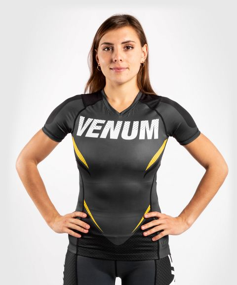 Venum ONE FC Impact Rashguard - short sleeves - for women - Grey/Yellow