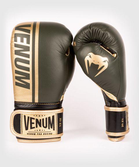 Venum Shield Pro Boxing Gloves Velcro - Khaki/Gold