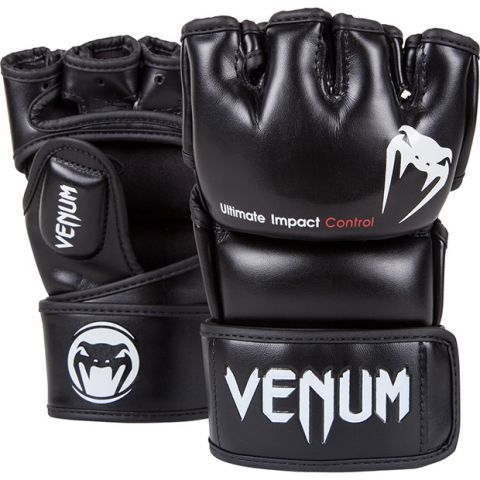 Venum Impact MMA Gloves - Skintex Leather - Black - S