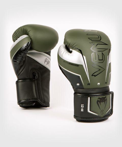 Venum Elite Evo Boxing Gloves - Khaki/Silver