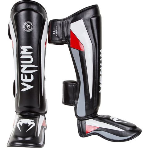 Venum Elite Standup Shin guards - Black/Red/Grey