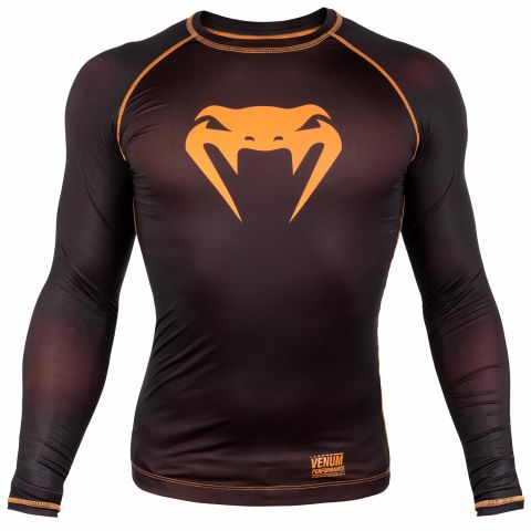 Venum Contender 3.0 Compression T-shirt - Long Sleeves - Black/Neo Orange