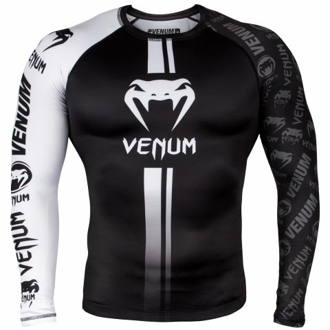 Venum Logos Rashguard Long Sleeves - Black/White