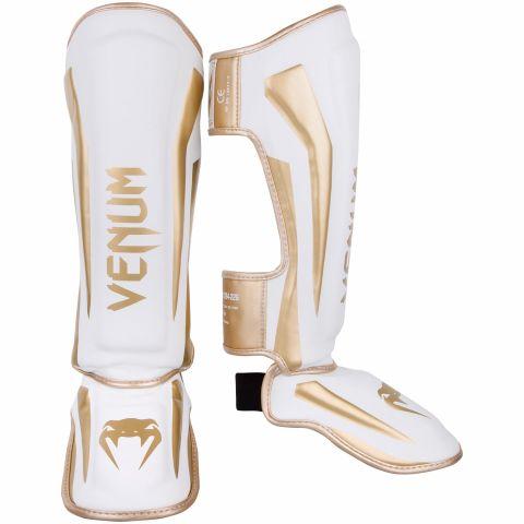 Venum Elite Standup Shin guards - White/Gold
