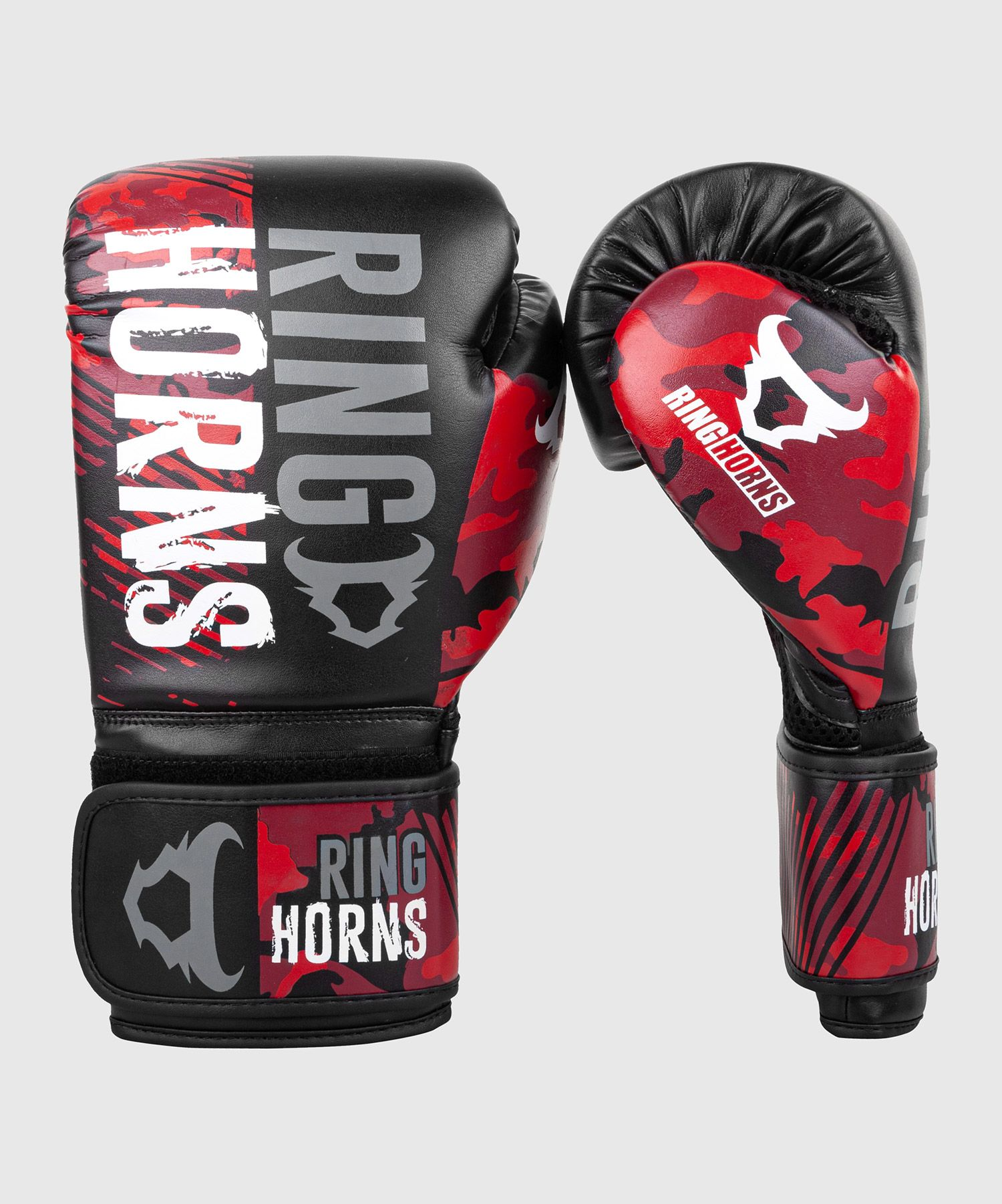 Ringhorns Charger Camo Boxing Gloves - Black/Red