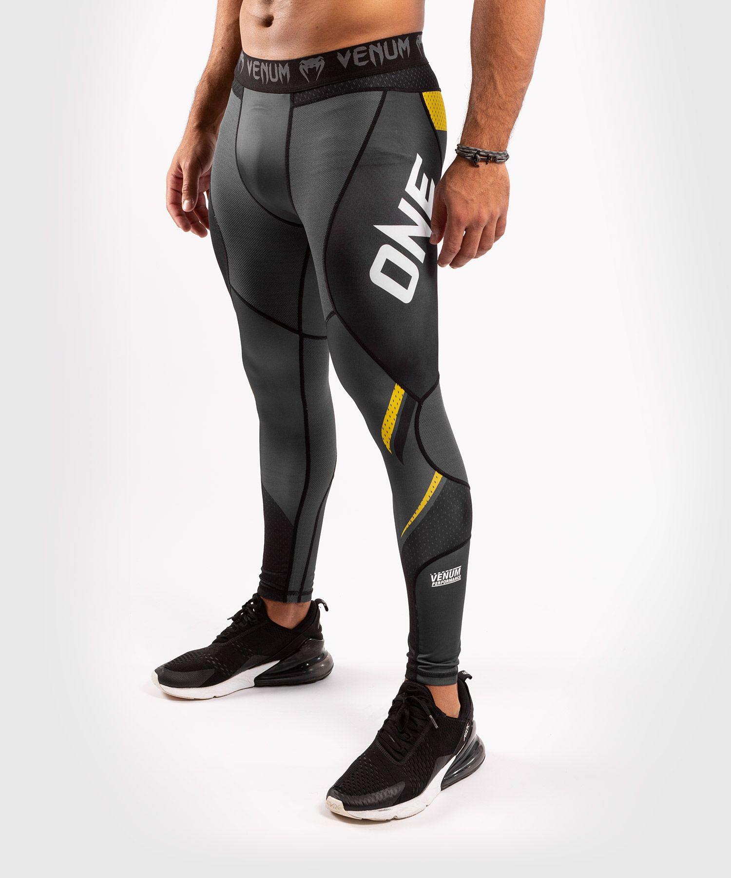 Компрессионные штаны ONE FC Impact  - Серый/Желтый