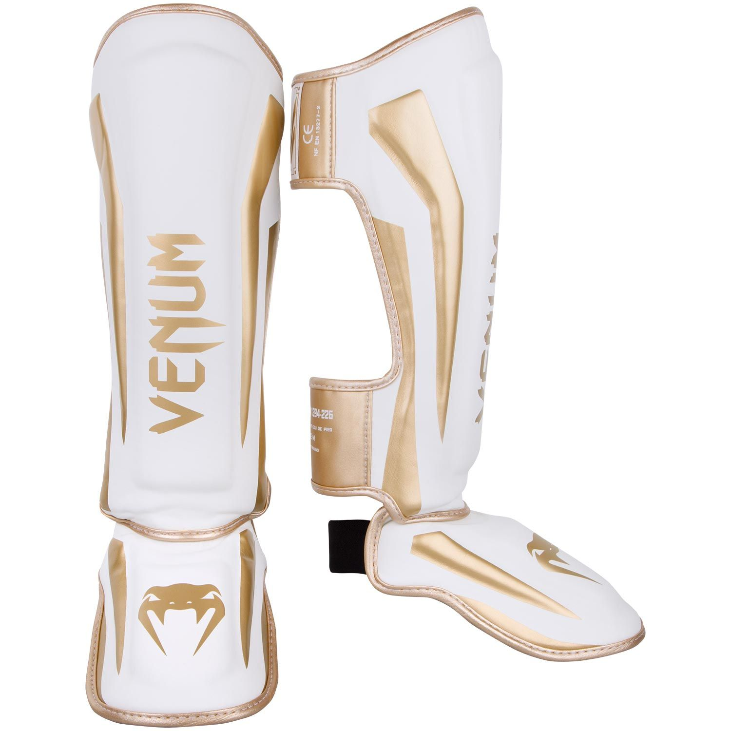 Venum Elite Standup Shin guards - White/Gold