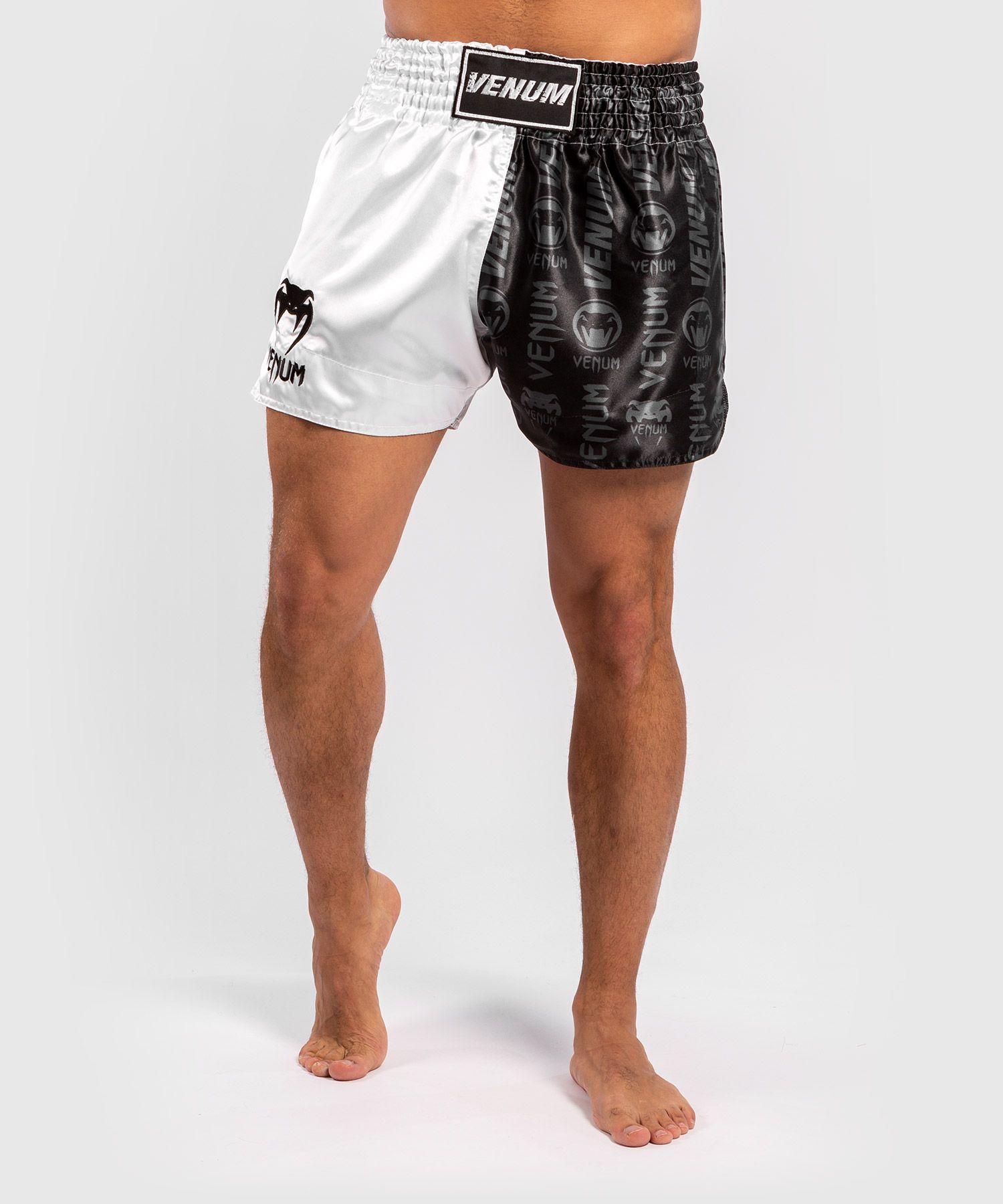 Venum Logos Muay Thai Shorts - Black/White