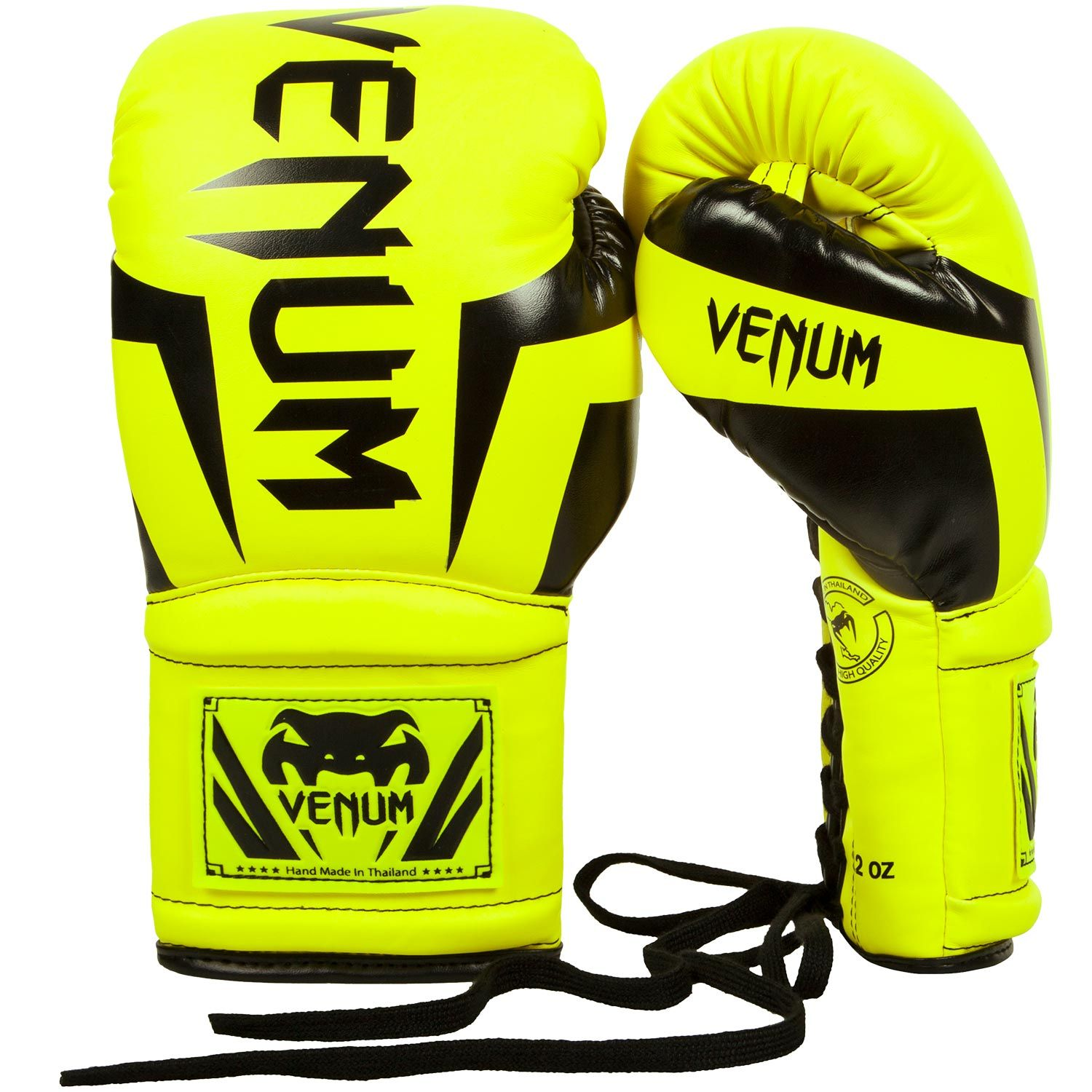 Venum Elite Boxing Gloves - with Laces - Neo Yellow