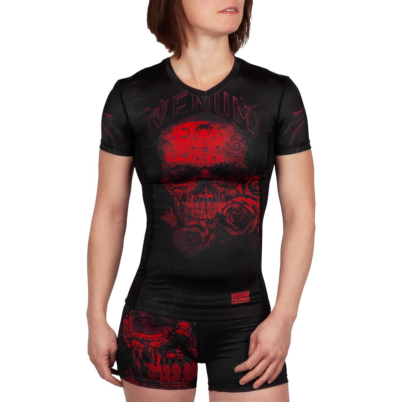 Venum Santa Muerte 3.0 Rashguard - Short Sleeves - For Women - Black/Red
