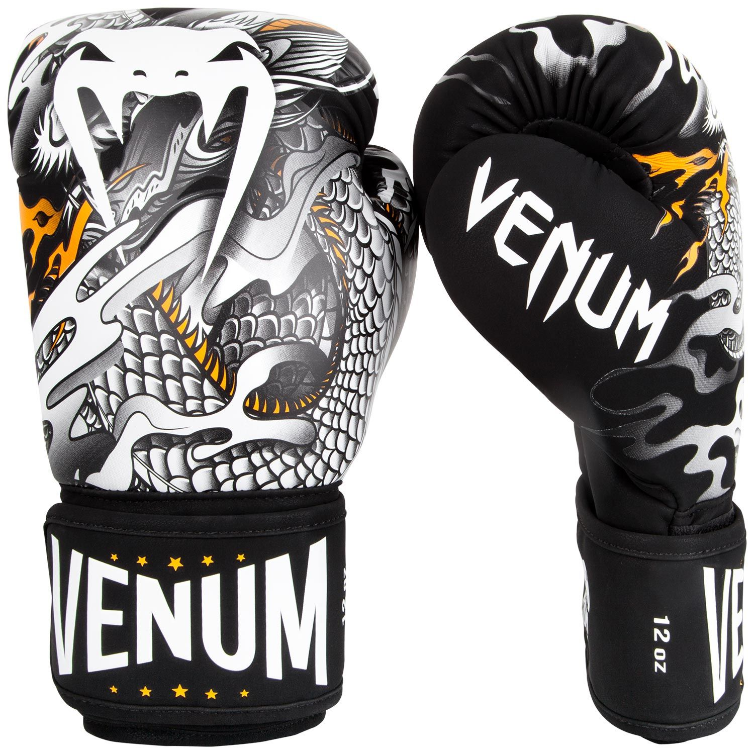 Venum Dragon's Flight Boxing Gloves - Black/White