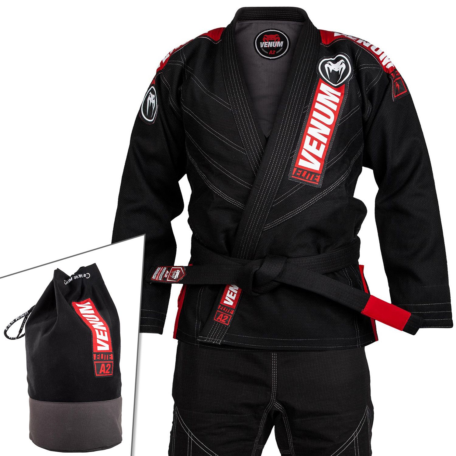Venum Elite 2.0 BJJ Gi - (Bag Included) - Black - A0