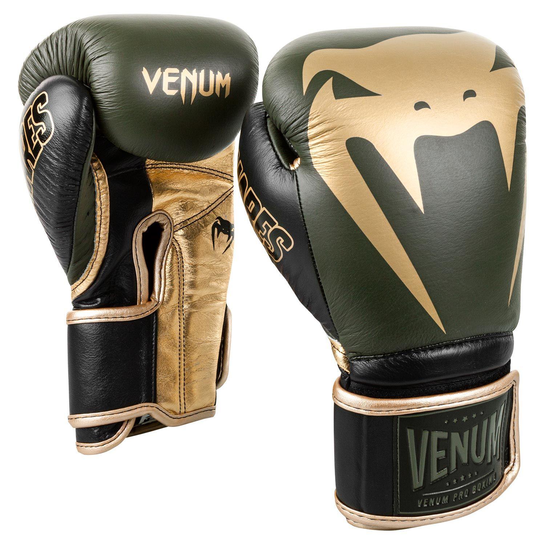 Venum Giant 2.0 Pro Boxing Gloves Linares Edition - Velcro - Khaki/Black/Gold