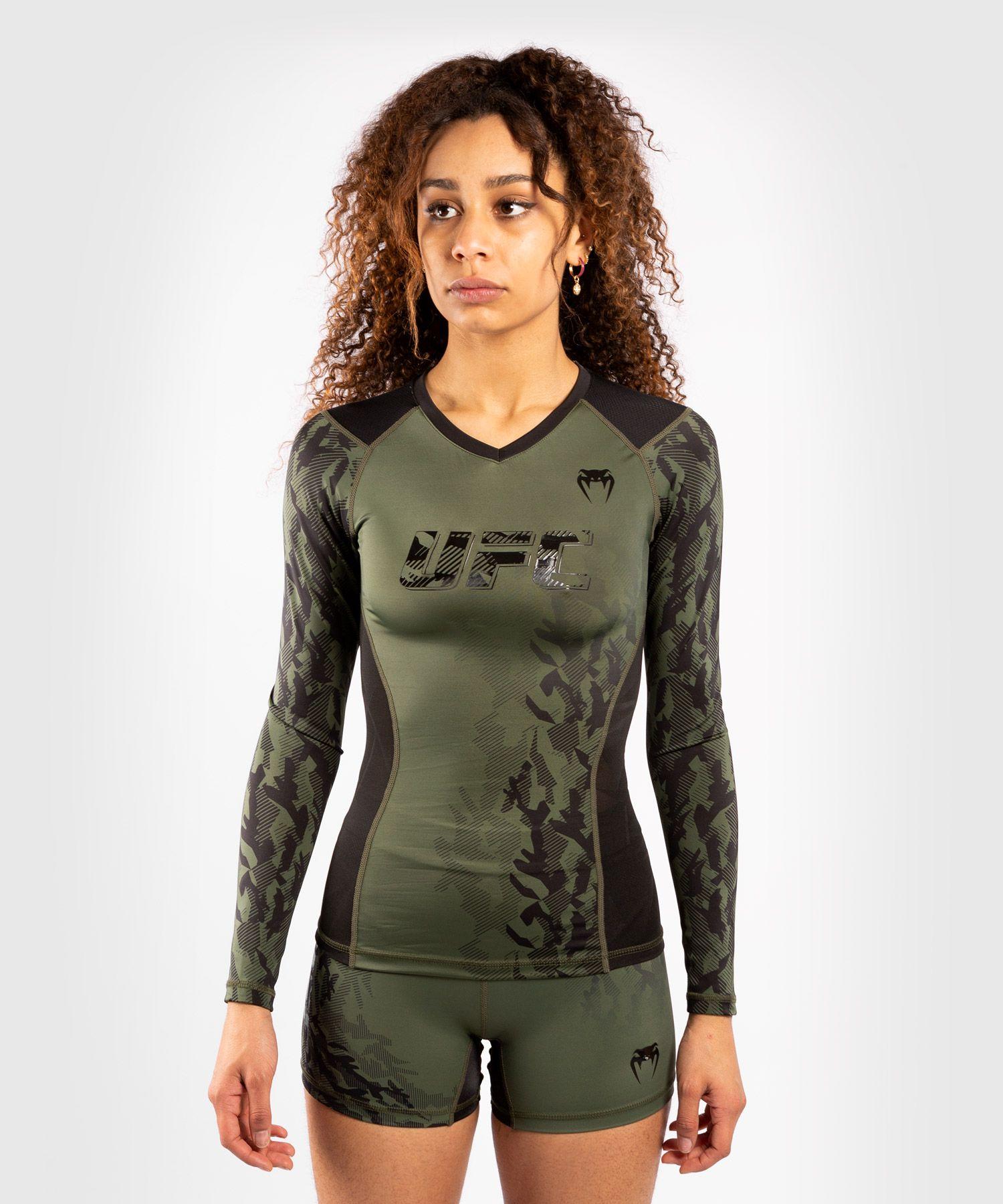 UFC Venum Authentic Fight Week Women's Performance Long Sleeve Rashguard - Khaki