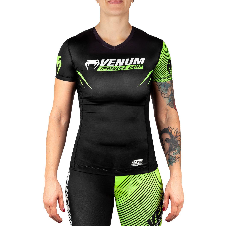 Venum Training Camp 2.0 Rashguard - Short Sleeves - Black/Neo Yellow - For Women