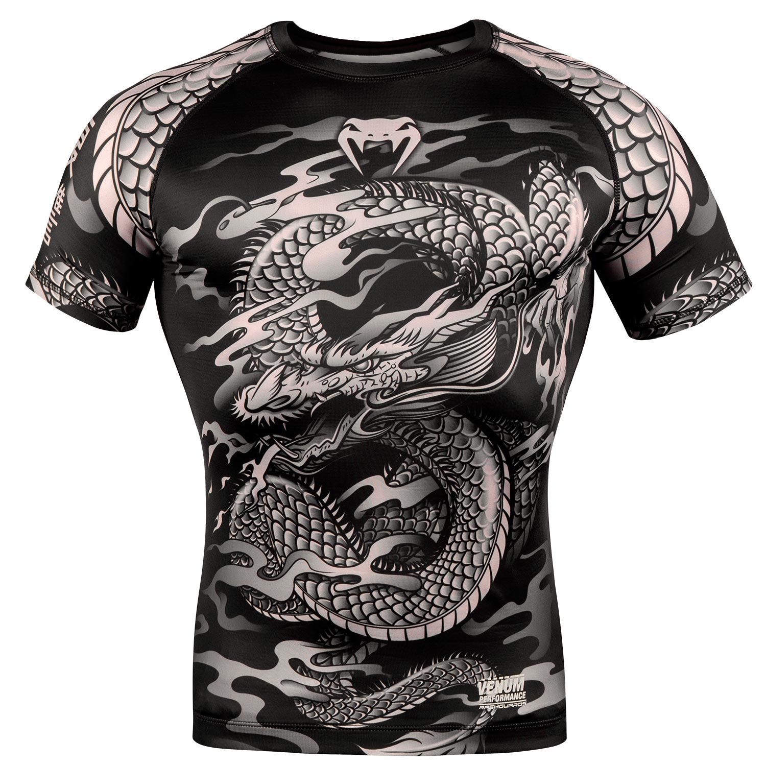 Venum Dragon's Flight Rashguard - Short Sleeves - Black/Sand