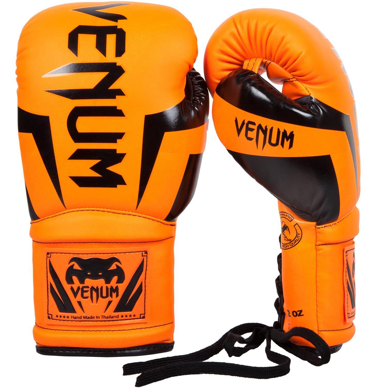 Venum Elite Boxing Gloves with laces - Neo Orange