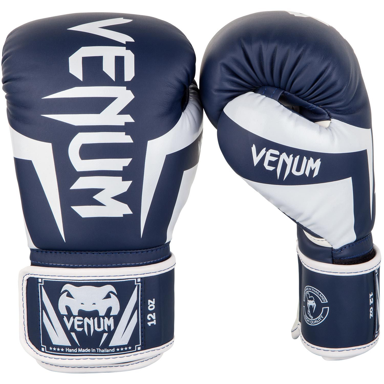 Venum Elite Boxing Gloves - White/Navy Blue