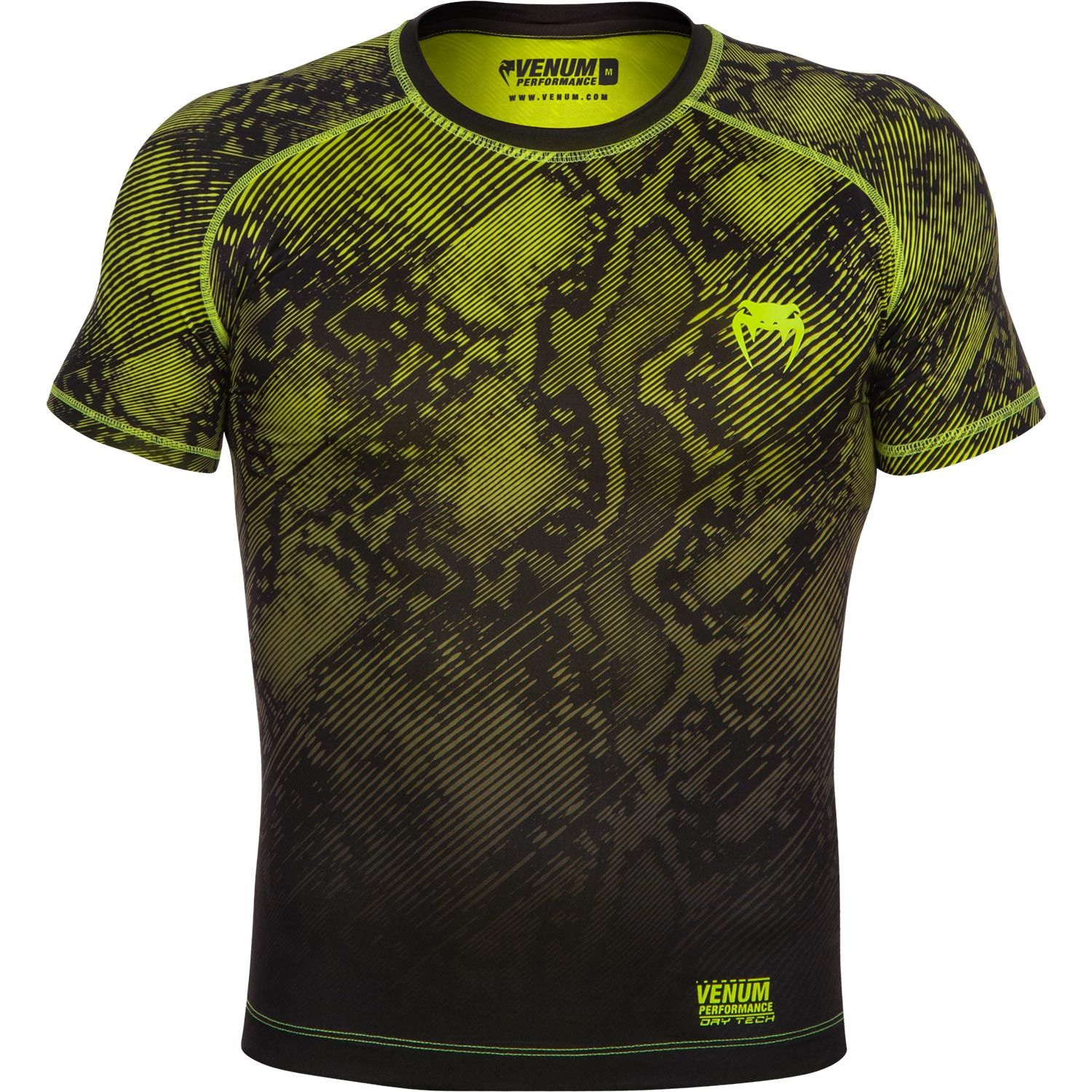 Venum Fusion Compression T-shirt - Short Sleeves - Black/Yellow