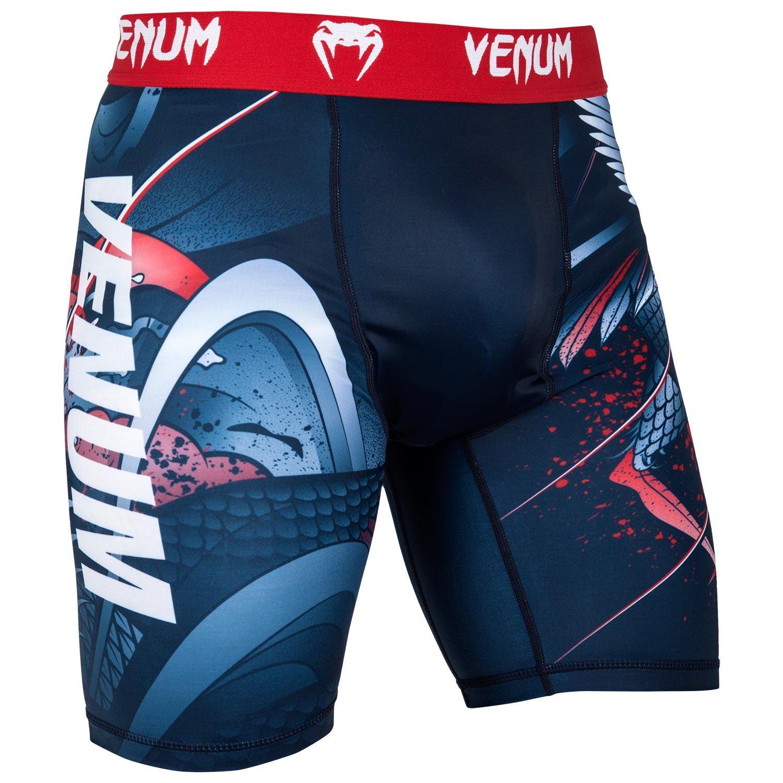 Venum Rooster Compression Shorts - Navy Blue/Orange