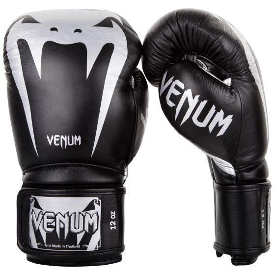 Боксерские перчатки Venum Giant 3.0 - Кожа Наппа - Черный/Серебристый
