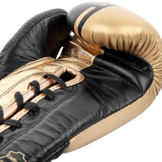 Venum Shield Pro Boxing Gloves - With Laces  - Black/Gold