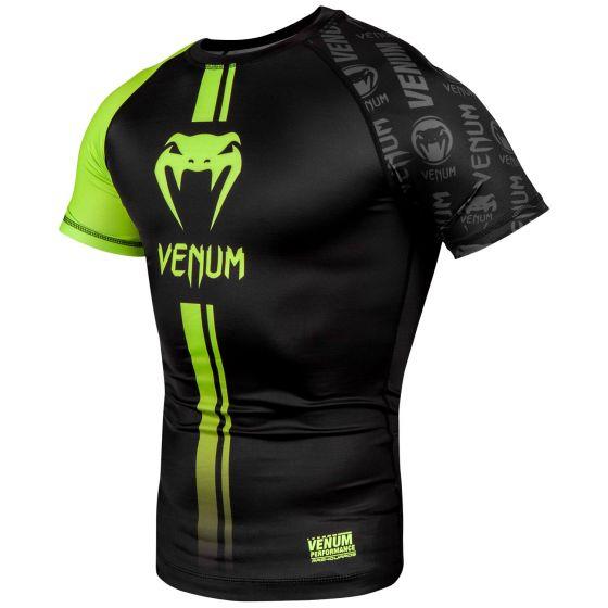 Venum Logos Rashguard - Short Sleeves - Black/Neo Yellow