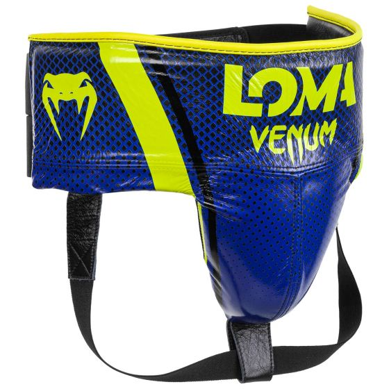 Защита паха для боксеров Venum Pro Loma Edition — с застежкой-липучкой — синий/желтый