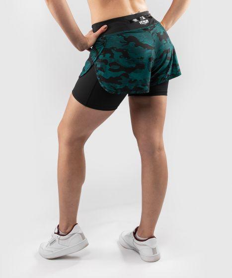 Компрессионные шорты Venum Defender 2.0 Hybrid - Черный/Зеленый