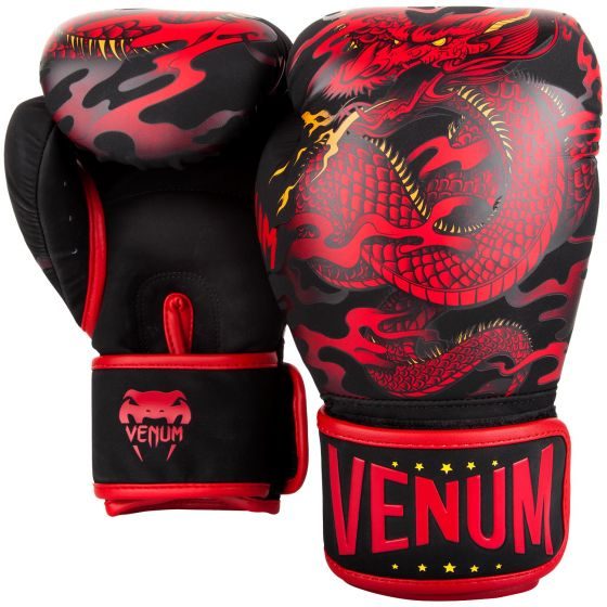 Venum Dragon's Flight Boxing Gloves - Black/Red - Exclusive
