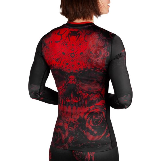 Venum Santa Muerte 3.0 Rashguard - Long Sleeves - For Women - Black/Red