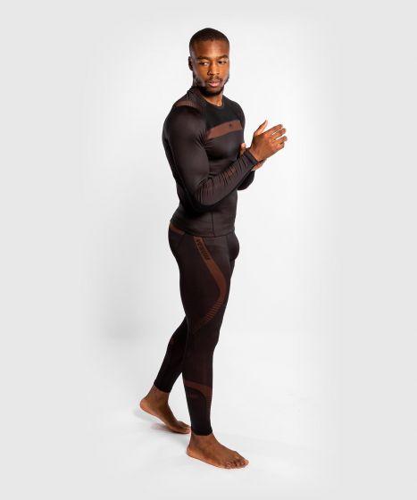 Компрессионные штаны Venum No Gi 3.0 - черный/коричневый)