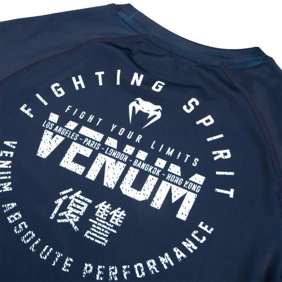 Venum Signature Rashguard - Long Sleeves - Navy Blue/White