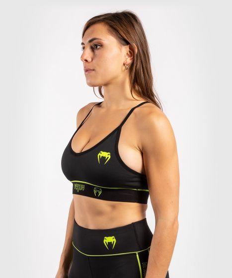 Venum Tecmo Sport Bra - For Women - Black/Neo Yellow
